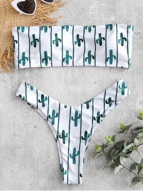 Bikini Bandeau con Estampado de Cactus a Rayas - Mar Verde Mediana M