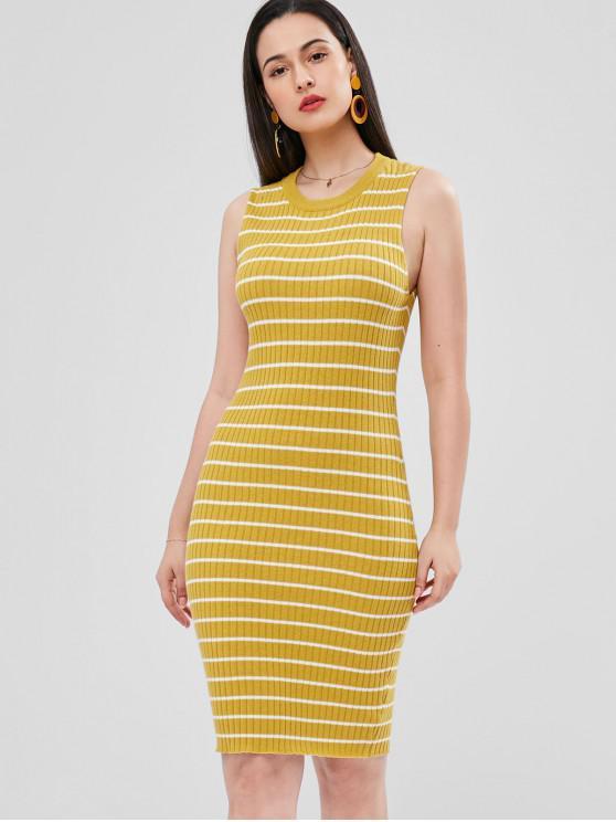 Vestido de suéter de bainha de listras - Amarelo Brilhante Um Tamanho