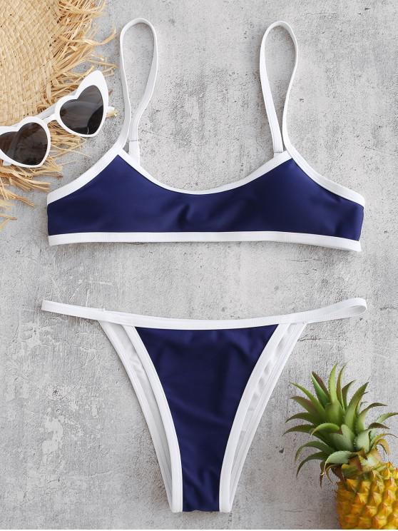 hot ZAFUL Contrast Trim Bralette Bikini - DENIM DARK BLUE S