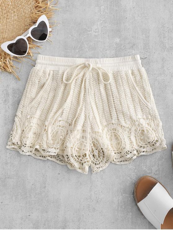 online Drawstring Crochet Shorts - CORNSILK ONE SIZE