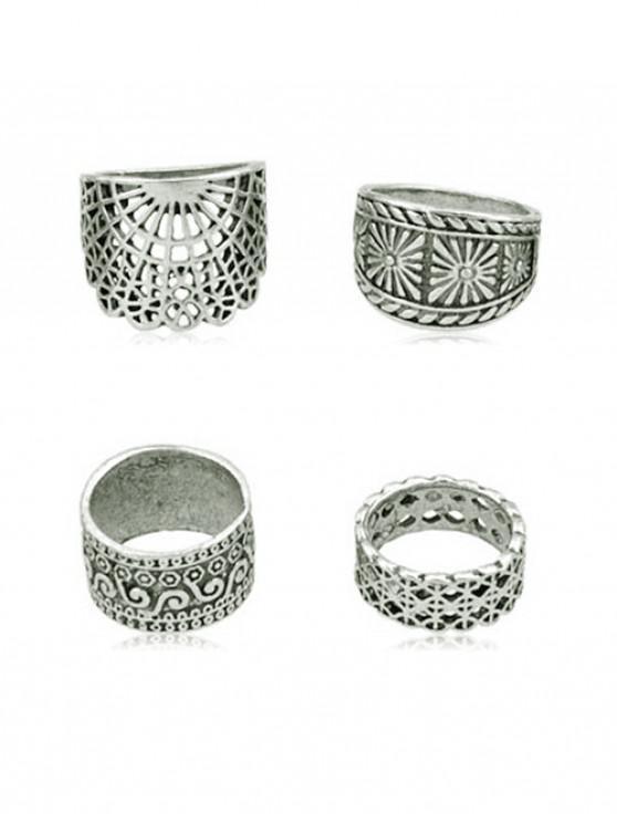 4Pcs -Alte Breiten Ring -Set - Silber Einheitsgröße