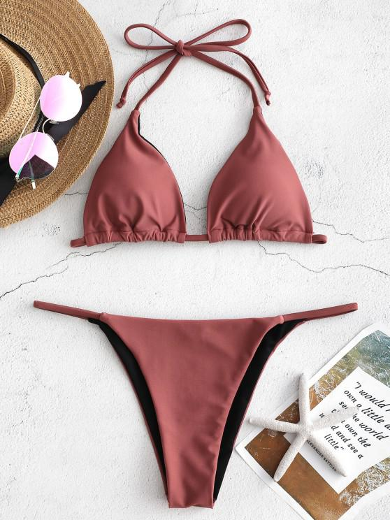 ladies ZAFUL Halter String Bikini - ROSY FINCH S