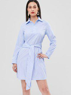Front Knot Striped Shift Shirt Dress - Light Blue L