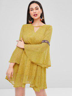 Flare Sleeve Backless Mini A Line Dress - Goldenrod L