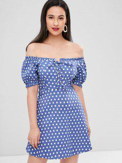 Vestido De Lunares Con Cordones - Azul Acero L