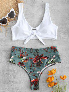 Vorderer Knoten Blumen Bikini Set - Rehbraunes Grün L