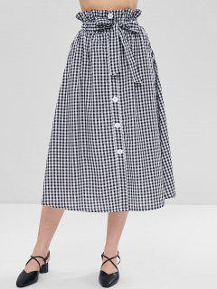 Plaid Belted Ruffle Skirt - Black