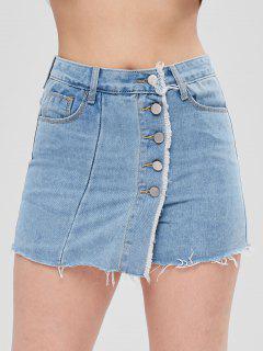 Button Fly Jean Shorts - Light Blue S