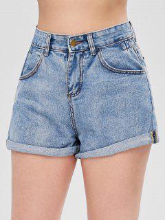 Pantalones Cortos De Mezclilla Con Dobladillo Enrollado - Azul Oscuro De Denim L