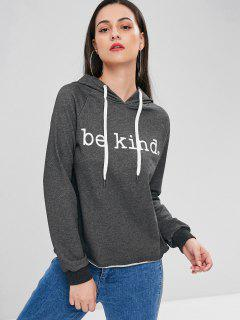 Raglan Sleeve Letter Graphic Hoodie - Carbon Gray L