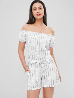 Wide Leg Striped Knot Romper - White M