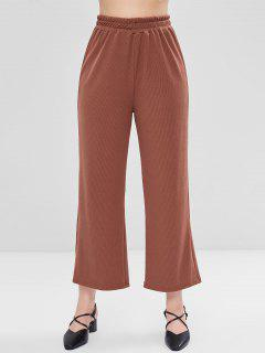 Ribbed Wide Leg Pants - Blood Red L