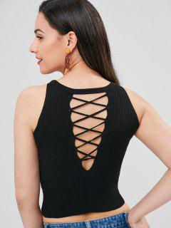 Lattice Knit Tank Top - Black