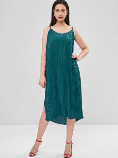 Side Split Pleated Cami Dress - Medium Turquoise M