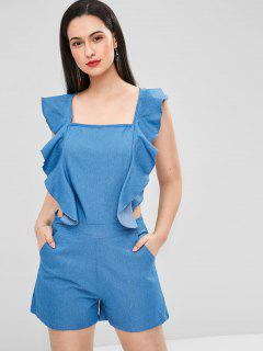 Square Neck Ruffles Backless Romper - Silk Blue M