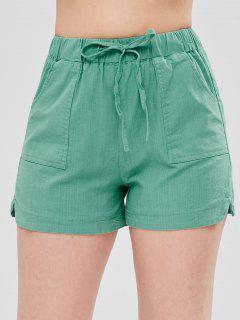 Notched Drawstring Shorts - Light Sea Green M