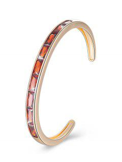 Retro Crystal Inlaid Alloy Cuff Bracelet - Red