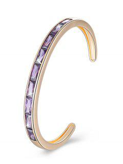 Retro Crystal Inlaid Alloy Cuff Bracelet - Purple Jam