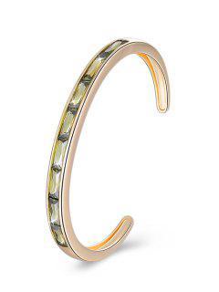 Bracelet Manchette En Alliage Incrusté De Cristal Rétro - Vert Oignon