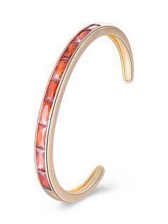 Bracelet Manchette En Alliage Incrusté De Cristal Rétro - Orange Foncé