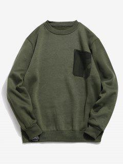 Chest Camo Pocket Fleece Sweatshirt - Army Green 2xl