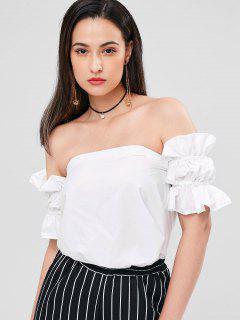 Volant Schulterfreie Bluse - Weiß