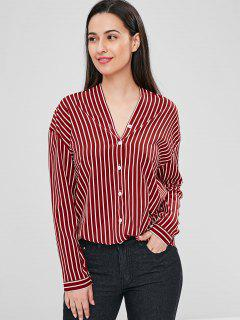 Striped Oversized Blouse - Red Wine L