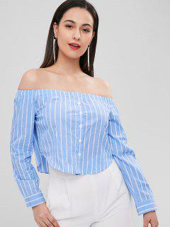 Off Shoulder Striped Blouse - Sky Blue M