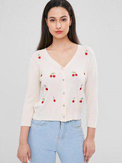 Cherry Embroidered Cardigan - Warm White