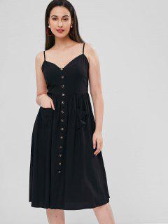 Cami Smocked Button Embellished Dress - Black S