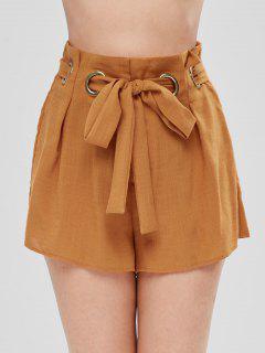 Pantalones Cortos De Pierna Ancha Con Cinturón - Amarilla De Abeja  L