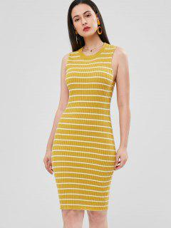 Stripes Sheath Sweater Dress - Bright Yellow