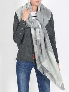 British Style Plaid Pattern Soft Scarf - Gray Goose One Szie