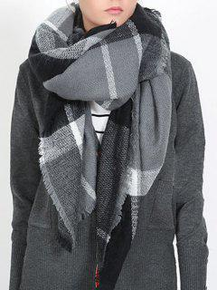British Style Plaid Pattern Soft Scarf - Natural Black One Szie