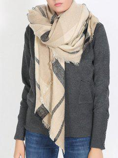 British Style Plaid Pattern Soft Scarf - Apricot One Szie