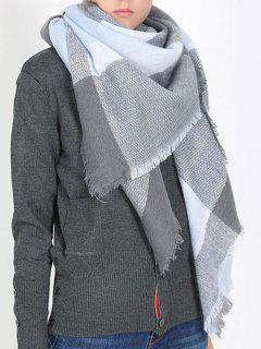 British Style Plaid Pattern Soft Scarf - Slate Blue One Szie