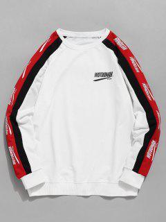 Sweat-shirt Lettre Rayé à Manches Raglan - Blanc L