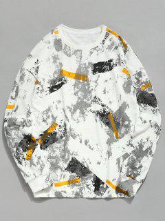 Marble Print Crew Neck Sweatshirt - Multi L