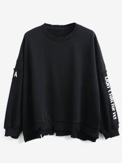 Side Letter Patchwork Oversized Pullover Sweatshirt - Black L