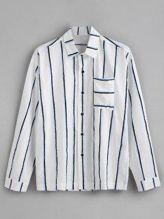 Chest Pocket Vertical Striped Print Long Sleeve Shirt - Blue L