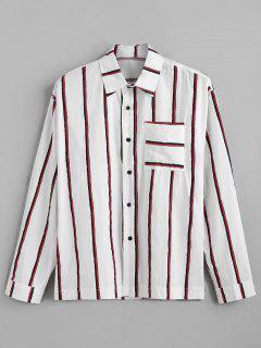 Chest Pocket Vertical Striped Print Long Sleeve Shirt - Red Xl