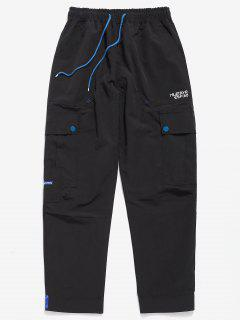 Casual Hem Velcro Multi Pockets Pants - Black S