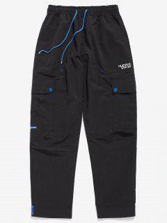 Casual Hem Velcro Multi Pockets Pants - Black M