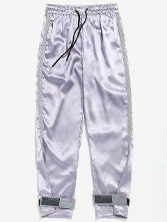 Shiny Striped Drawstring Waist Pants - Silver M