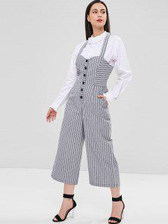 Striped Shirred Wide Leg Jumpsuit - Gray M