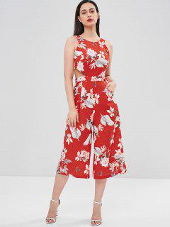 Flower Bowknot Wide Leg Jumpsuit - Love Red S