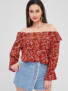 Volant Blumen Schulterfreie Bluse - Kastanie Rot