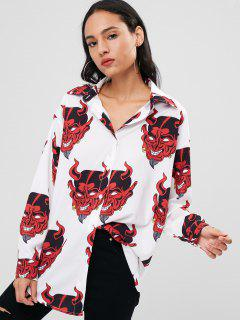 Printed Drop Shoulder Shirt - White