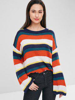 Drop Shoulder Colorful Striped Sweater - Multi