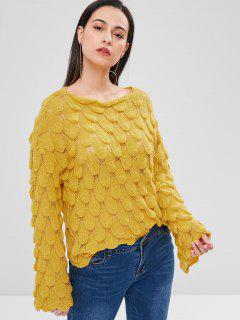 Flare Sleeve Drop Shoulder Sweater - Goldenrod